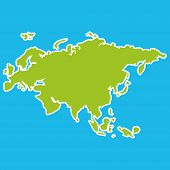 image of continent  - Eurasia map green continent on blue background - JPG