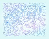 picture of tortoise  - line art vector illustration of decorative sea animals  - JPG