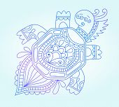picture of tortoise  - blue line drawing of sea monster - JPG