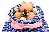 pic of quail  - Unpainted chicken and quail eggs in a basket - JPG