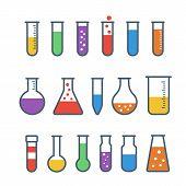 image of experiments  - Flat Chemical test tube icons set - JPG