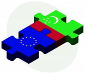 stock photo of turkmenistan  - European Union and Turkmenistan Flags in puzzle isolated on white background - JPG