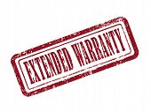 pic of extend  - stamp extended warranty in red over white background - JPG