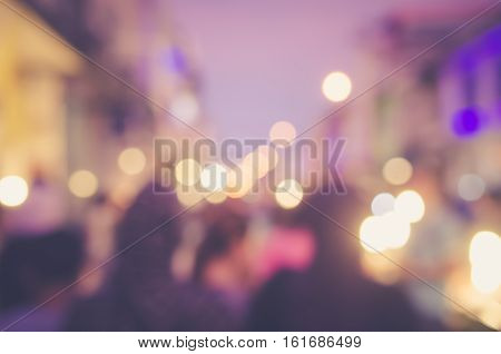 Blur People Shopping In Local Street Night Market With Colorful Bokeh And Sun Light Abstract Backgro