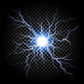 Lightning flash light thunder spark on transparent background. Vector ball lightning or electricity  poster