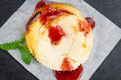 Постер, плакат: Fresh Made Cheesecake With Berry Sacue