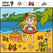 Постер, плакат: Counting Game For Children Educational Game Girl And Background