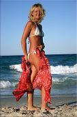 Постер, плакат: Загорелая девушка ходить на пляже в белом бикини