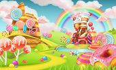 Sweet candy land. Cartoon game background. 3d vector illustration poster