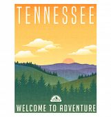 Tennessee, United States travel poster or luggage sticker. Scenic illustration of the Great Smoky Mo poster