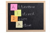 stock photo of aida  - aida concept on blackboard - JPG