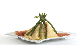 pic of tipi  - Crepes and asparagus tipi with ham on the sides  - JPG