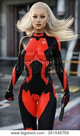 Confident Sexy Female Scifi Soldier