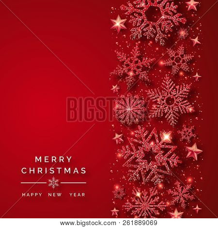 Christmas Card Background.Christmas Background With Shining Red Snowflakes And Snow Merry Christmas Card Illustration On Red Poster