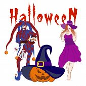The Vector Image Of The Joker, The Beautiful Witch And The Laughing Pumpkin In A Hat. Cheerful Jack. poster