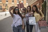 Friends Taking Selfie With Shopping Bags. Shopping With A Smile.shopping Fun. Beautiful Girls Talkin poster