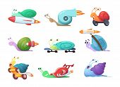 Snails Cartoon Characters. Slow Sea Slug Or Caracoles Vector Illustrations. Speed And Fast Snail Cha poster