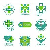 Medical Logotypes. Medicine Pharmacy Clinic Or Hospital Cross Plus Health Care Vector Symbols Design poster