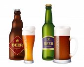 Beer Glasses Bottles. Cup And Vessels For Alcoholic Drinks Craft Light Brown Fresh Cold Beer With Fo poster