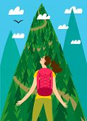 Cartoon Girl Traveler With A Large Backpack Looking At The Mountain. Backpacker Illustration For You poster