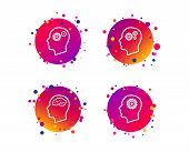 Head With Brain Icon. Male Human Think Symbols. Cogwheel Gears Signs. Gradient Circle Buttons With I poster