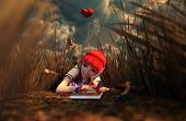 Birds Song,3D Illustration Of A Happy Schoolgirl Laying Alone In Grass Field Surrounded By A Birds poster