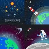 Universe Banner Set. Flat Illustration Of Universe Vector Banner Set For Web Design poster