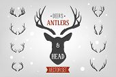 Black Silhouette Hand Drawn Deer S Horn, Antler And Head Set. Animal Antler Collection. Design Eleme poster