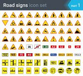 Road Signs Isolated On White Background. Warning Signs, Complementary Plates And Military Signs. Hig poster