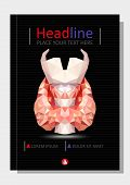 Realistic Thyroid Gland In Low Poly. Human 3d Thyroid, Gland, Larynx, Isthmus, Trachea. Book Cover A poster