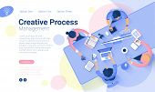 Flat Design  Web Page Template For Creative Business  Process And  Business Strategy. Trendy Vector  poster
