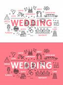 Wedding Ceremony Or Marriage Line Art Poster With Outline Icons. Cupid With Bow And Flower Arch, Lim poster