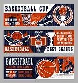 Basketball Sport League Banner With Trophy Cup And Ball. Vintage Brochure For Basketball Championshi poster