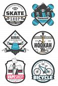 Skate Shop And Snowboarding, Aerial Videography And Hookah, Vape Store And Bicycle Icons With Transp poster