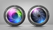 Vector Realistic Clipart With Two Camera Lenses, Photo Objectives With Zoom Isolated On Background.  poster