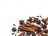 Winter Spices Background. Cinnamon, Cloves And Star Anise With Copy Space. Isolated On White With Cl poster
