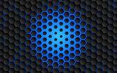 Black Abstract Digital Hi Tech Concept Background. Futuristic Hexagon And Blue Light Vector Illustra poster