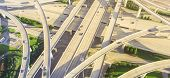 Panoramic Top Ninety Degree View Stack Interchange Expressway In Houston, Texas, Usa poster