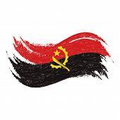 Постер, плакат: National Flag Of Angola Designed Using Brush Strokes Isolated On A White Background Vector Illust