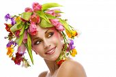 picture of beautiful woman  - beauty woman portrait with wreath from flowers on head over white background - JPG