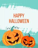Vector Cute Happy Halloween Design Template. Hand Drawn Colorful Vector Illustration. Craft Stamp St poster