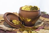 Isolated Pot With Golden Coins. Abstract Photo Of Lucky poster