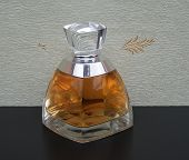 Fragrance For Ladies, Large Perfume Bottle In Front Of The Satin Wallcovering Elysee poster