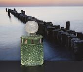Fragrance For Ladies, Large Perfume Bottle In Front Of The Picture Of A Groyne In The Sea poster