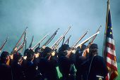 stock photo of yanks  - Union line preparing to volley fire Civil War battle reenactment - JPG