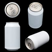 Four projections (top, front, orthogonal and perspective) of a blank beverage can. Clipping paths of