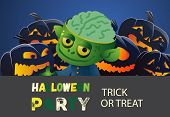 Halloween Party Trick Or Treat Zombie Banner Design. Inscription With Cartoon Characters Of Zombie M poster