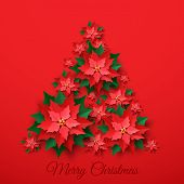 Vector Red Christmas Tree Made Of 3d Layered Poinsettia Flower In Paper Cut Style On Red Background. poster