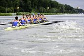 AMSTERDAM-JULY 22: The Dutch Men's eight team races for a place in the finals at the world champions