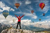 Sporty Girl And A Lot Of Hot Air Balloons. The Feeling Of Complete Freedom, Achievement, Achievement poster